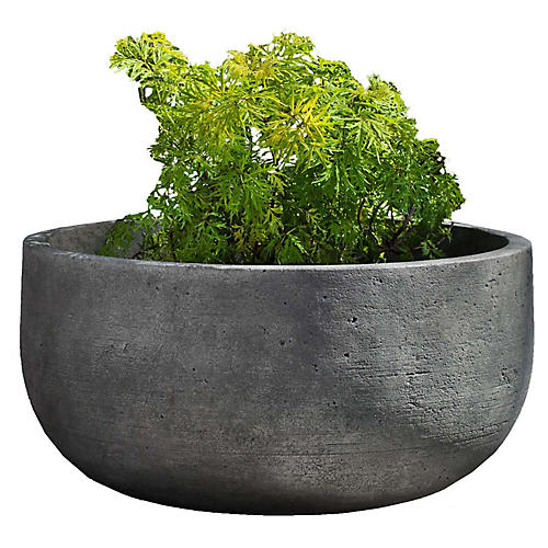 "28"" Low Tribeca Outdoor Planter, Graystone"