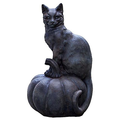 """18"""" Cat-on-Pumpkin Outdoor Statue, Black"""