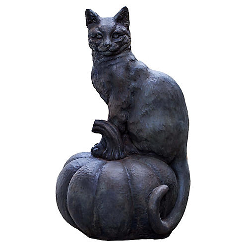 "18"" Cat-on-Pumpkin Outdoor Statue, Black"