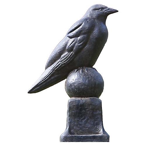 """13"""" Raven Outdoor Statue, Black"""