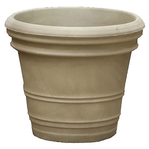"16"" Double Rolled-Rim Planter, Weathered Stone"