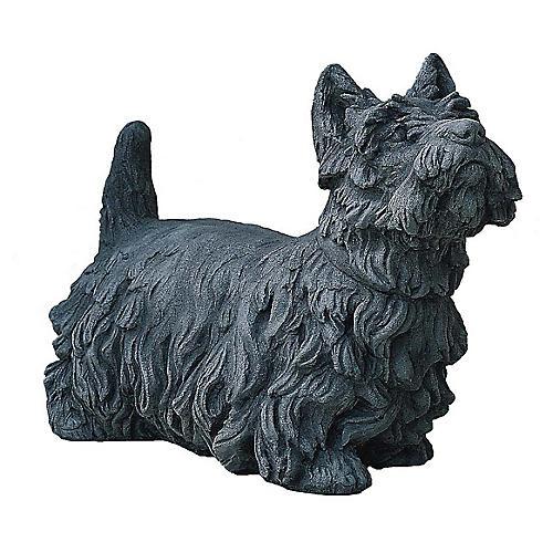 "20"" Angus Scotty Dog Outdoor Statue, Alpine Stone"