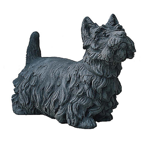 "20"" Angus Scotty Dog Outdoor Statue, Alpine Stone"
