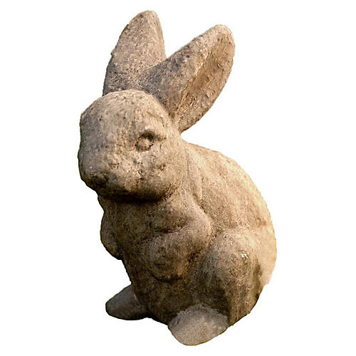 "9"" Ears Up Outdoor Statue, Aged Limestone"