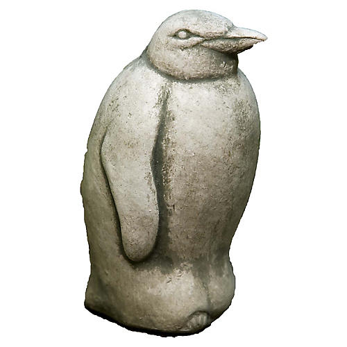 "6"" Penguin Outdoor Statue, Alpine Stone"