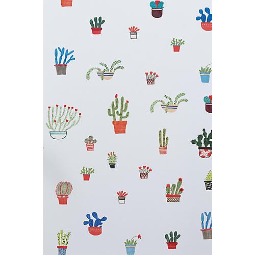 Cactus Wallpaper, White/Multi