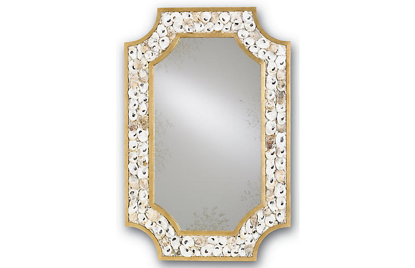 Margate Oyster Shell Mirror, Gold