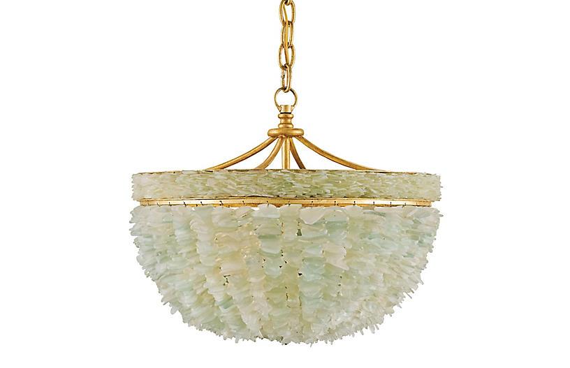 Bayou Pendant, Gold Leaf/Seaglass