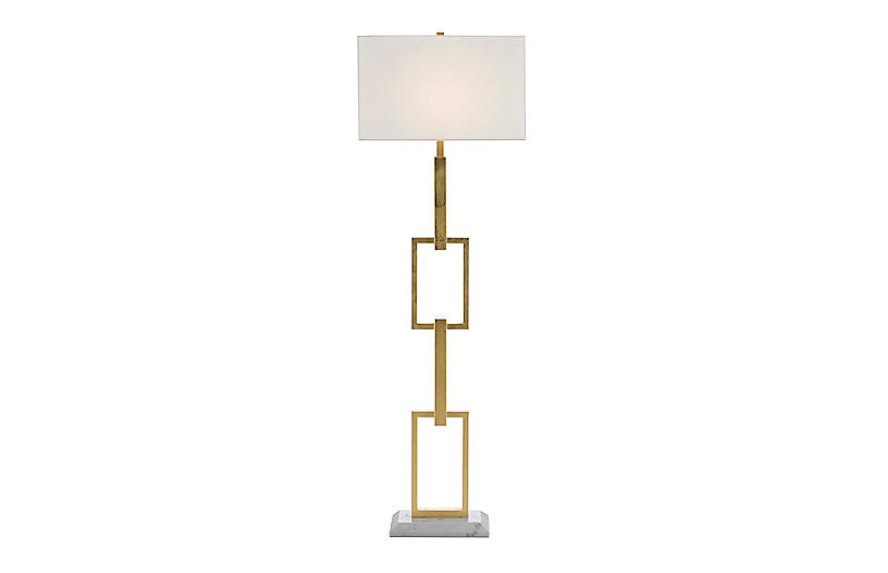 Catena Floor Lamp, Gold Leaf/Off-White