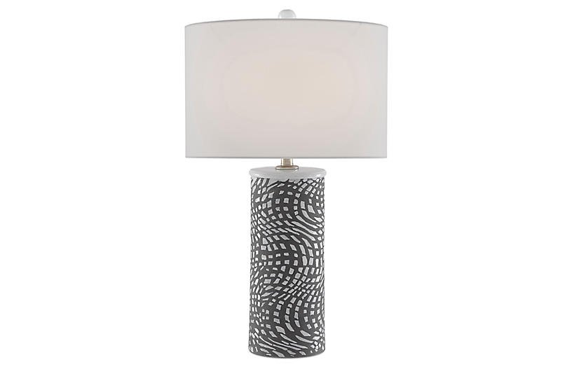 Abel Table Lamp, Concrete/White