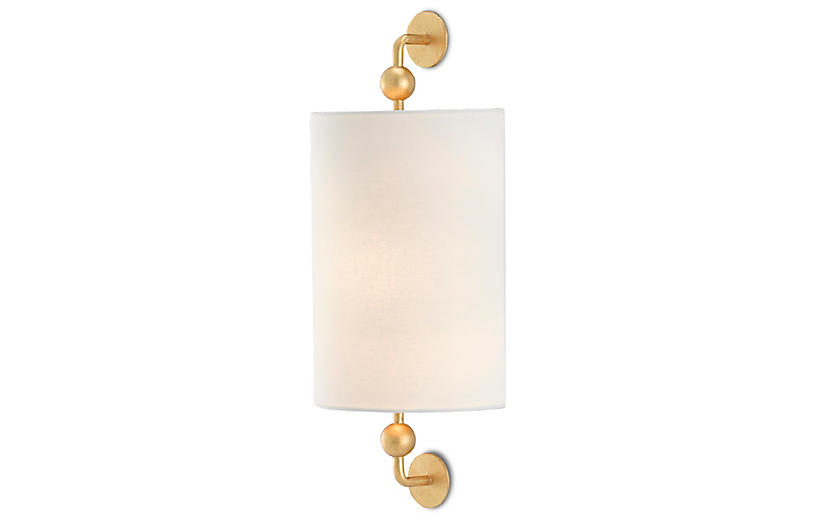Tavey Wall Sconce, Gold Leaf/Off-White