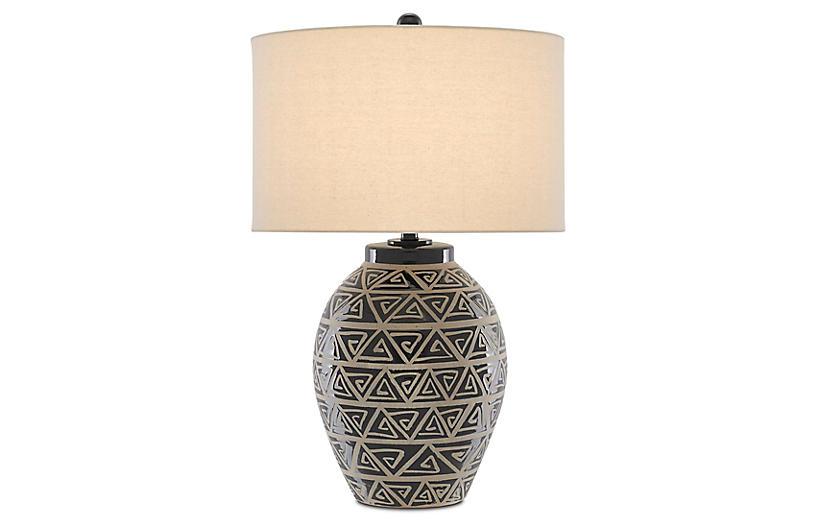 Himba Table Lamp, Glossy Black/Sand