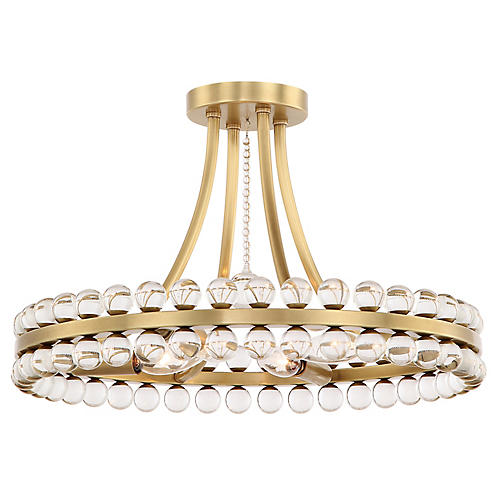 Clover 4-Light Flush Mount, Aged Brass