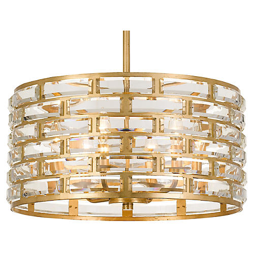 Meridian 6-Light Chandelier, Antiqued Gold