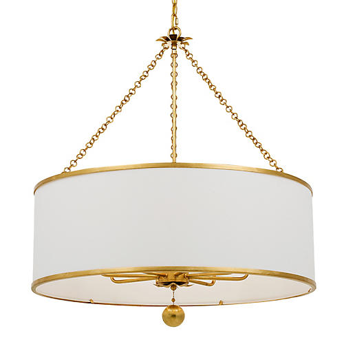 Broche 8-Light Chandelier, Antiqued Gold
