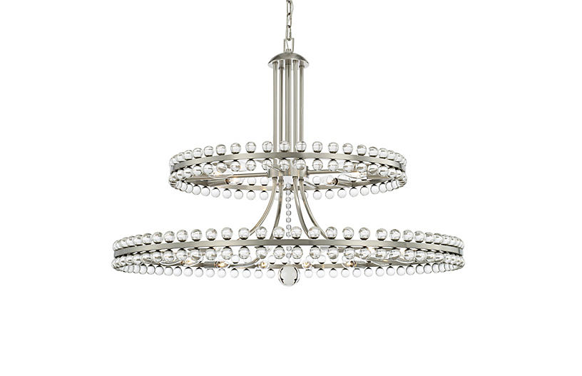 Clover Two-Tier Chandelier, Aged Brass