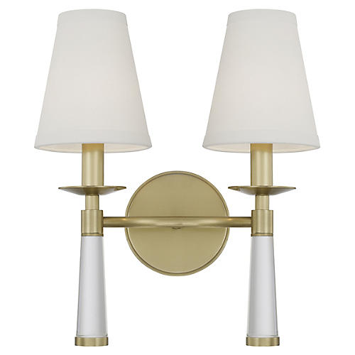 Baxter 2-Light Sconce, Aged Brass