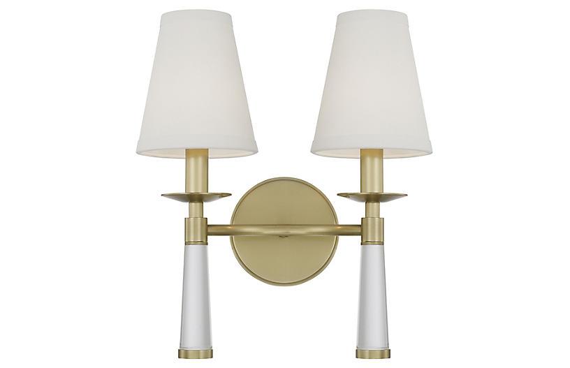 Baxter 2-Light Sconce, Aged Brass
