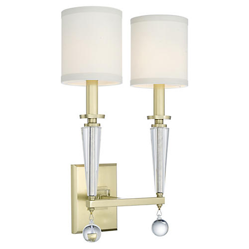 Paxton 2-Light Sconce, Antiqued Gold