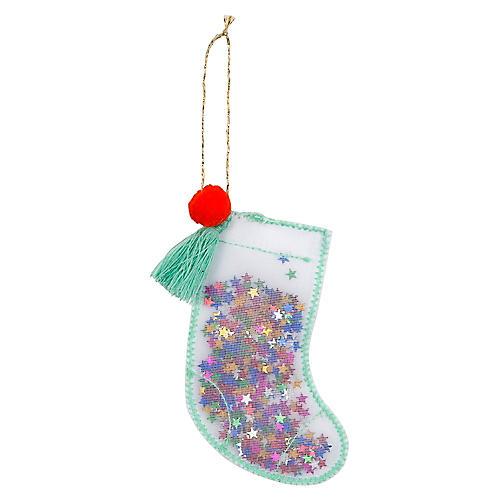 Stocking Shaker Ornament, Mint/Multi