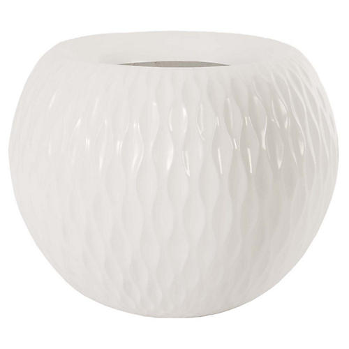 "22"" Ripple Planter, White"