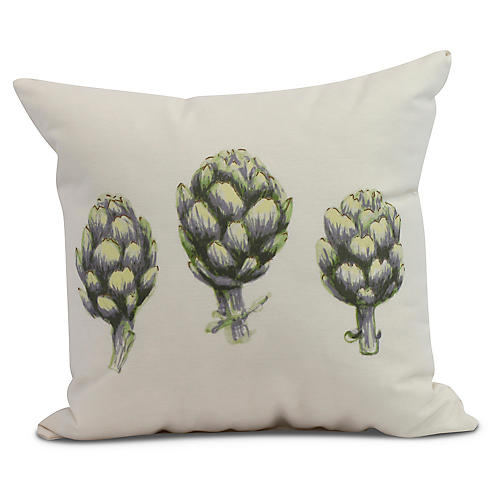 Globe Artichoke Pillow, Green/Ivory