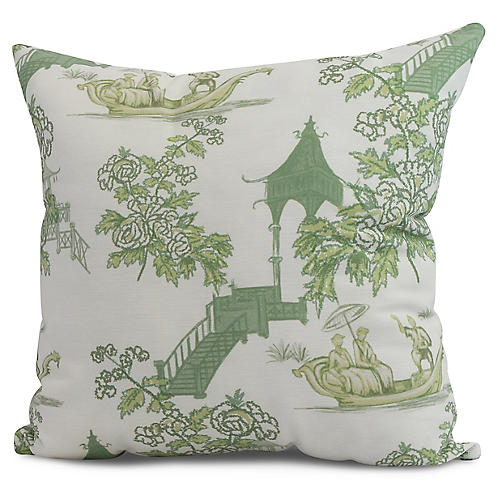 Floral Chinoiserie Pillow, Green