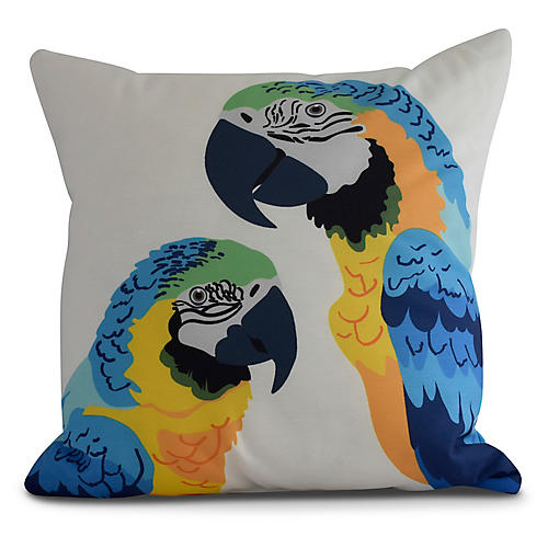 Talking Parrots Pillow, Blue/Yellow