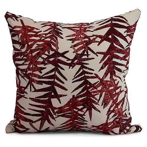 Falling Ferns Pillow, Red