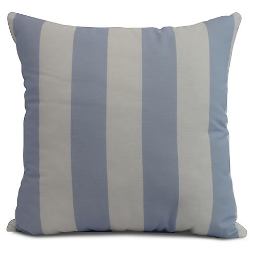 Monaco Stripe Pillow, Light Blue
