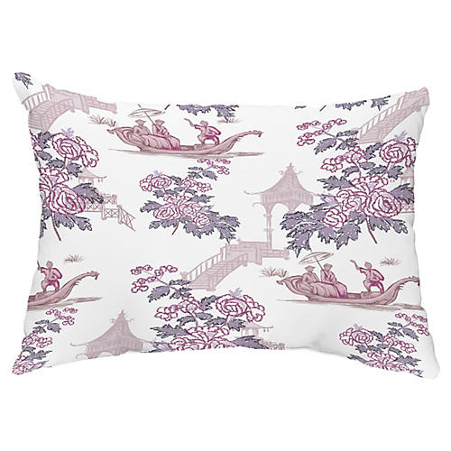 Floral Chinoiserie 14x20 Lumbar Pillow, Purple