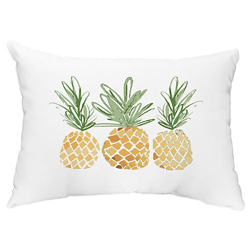 3 Pineapples 14x20 Lumbar Pillow, Gold