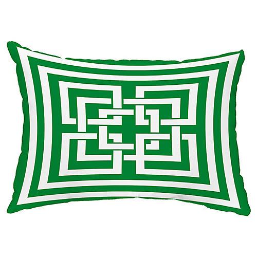 Maze Link 14x20 Lumbar Pillow, Green