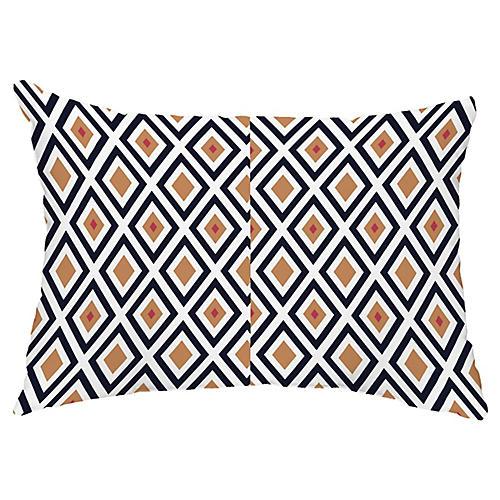 Diamond Harmony 14x20 Lumbar Pillow, Navy/Caramel