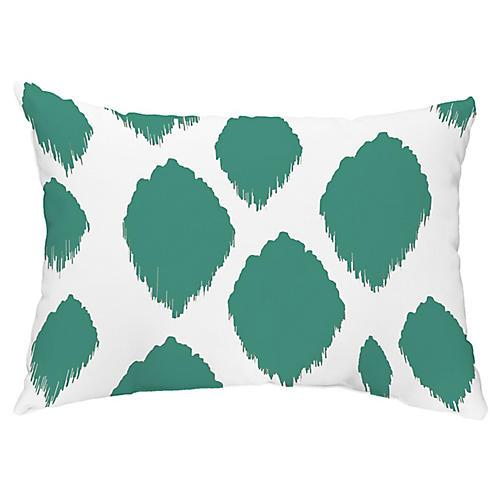 Ikat Dots 14x20 Lumbar Pillow, Teal
