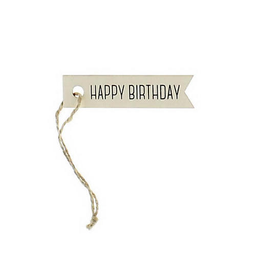 S/12 Happy Birthday Wooden Gift Tags