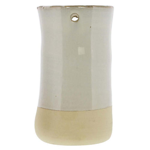 """7"""" Chieti Tall Candleholder, White/Bisque"""
