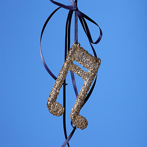 Musical Note Ornament, Gold