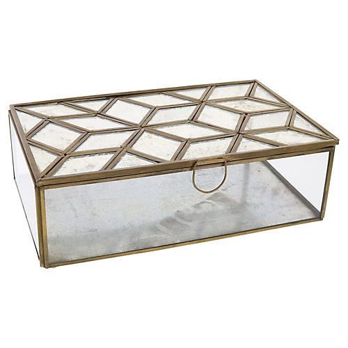 "10"" Milton Mirror-Top Box, Brass"
