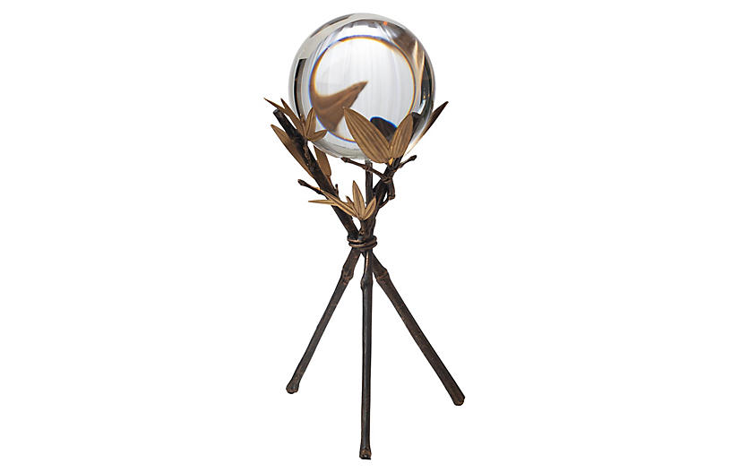 Large Bamboo Stand w/ Sphere, Bronze