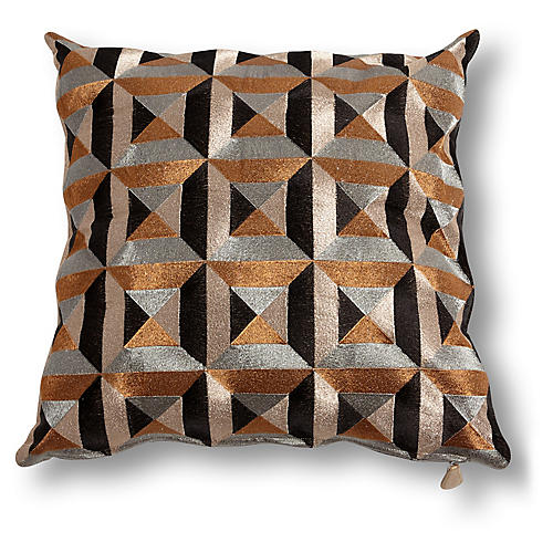 Gabrielle 20x20 Pillow, Bronze/Black
