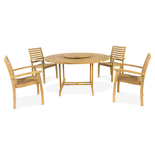 Royal 5-Pc Dining Set, Natural
