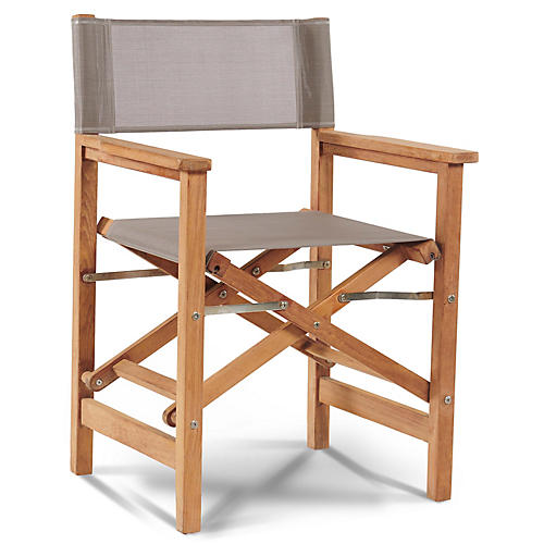 Teak Director's Chair, Taupe