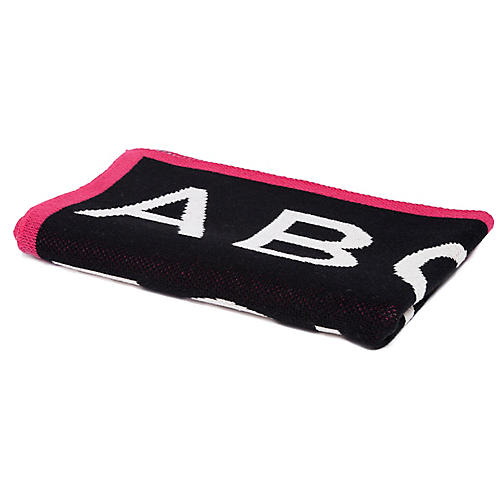 ABC Baby Blanket, Black/Fuchsia