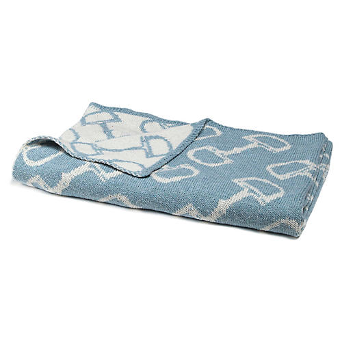 Bits Baby Blanket, Blue Pond