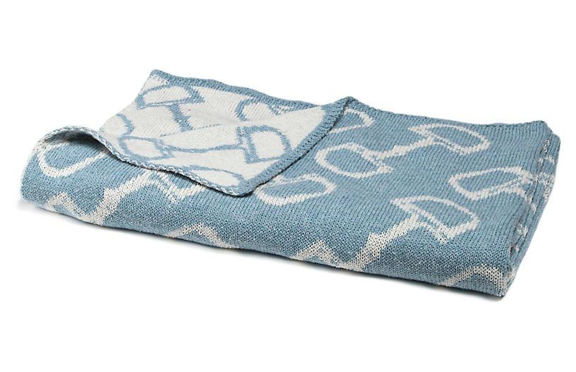 Bits Baby Blanket, Blue Pond