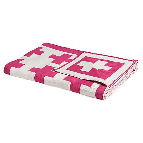 Swiss Cross Baby Blanket, Fuchsia