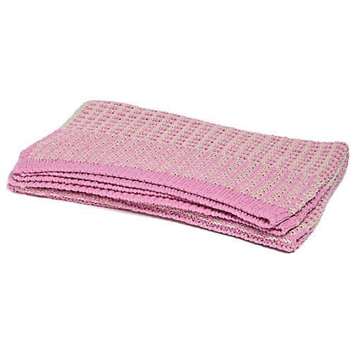 Waffle-Knit Baby Blanket, Petal