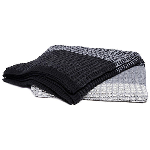 Stitch Stripe Throw, Gray