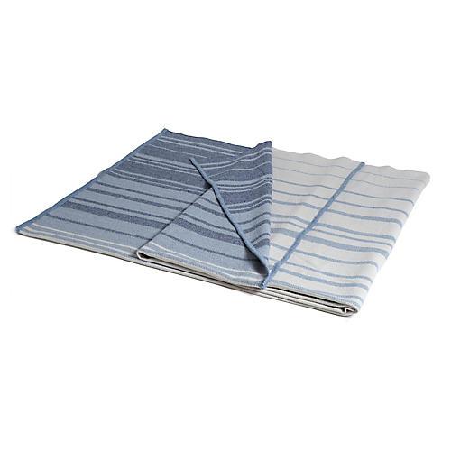 Eco-Stripe Outdoor Throw, Aqua